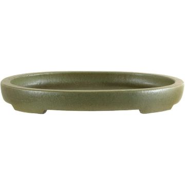 Bonsai pot 23x18.5x2.8cm handmade pale green oval glaced