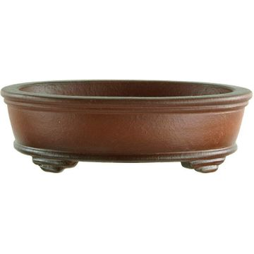 Bonsai pot 11.5x9x3.3cm Masteredition antique brown oval unglaced
