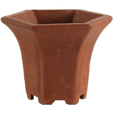 Bonsai pot 5.1x5.1x3.9cm handmade brown hexagonal unglaced