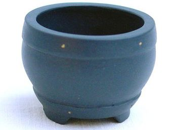 Bonsai pot 3.9x3.9x2.9cm handmade dark blue round unglaced