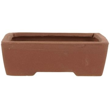 Bonsai pot brown rectangular unglaced 16x12x5cm