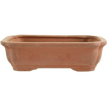 Bonsai pot brown rectangular unglaced 20.5x15.5x6cm