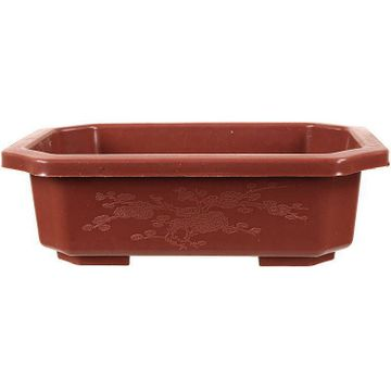 Bonsai pot 14x10x5cm brown rectangular plastic